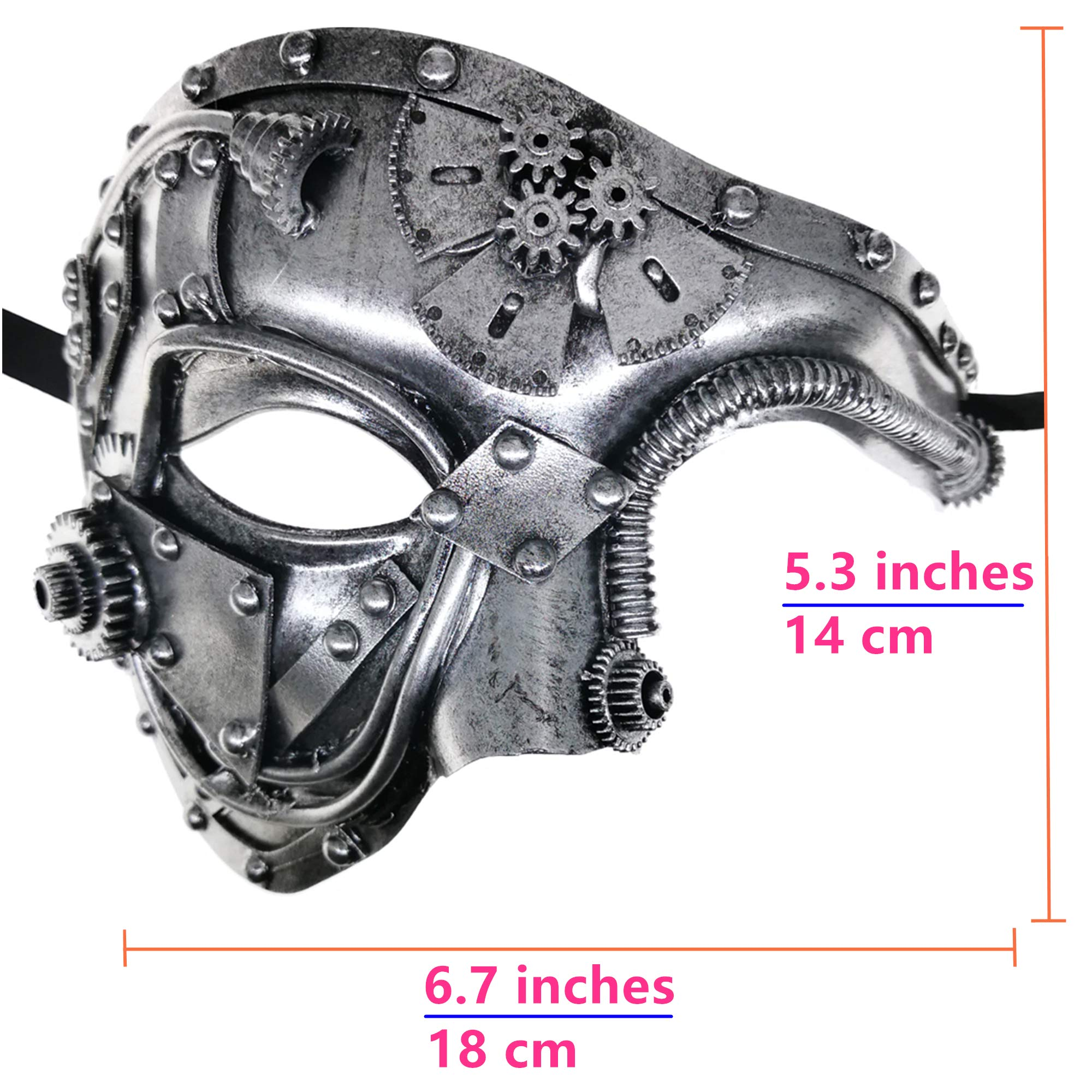 Silver Mechanical Men Venetian Mask for Masquerade Steam Punk Phantom of The Opera Vintage/Mardi Gras/Halloween/Party/Ball Prom