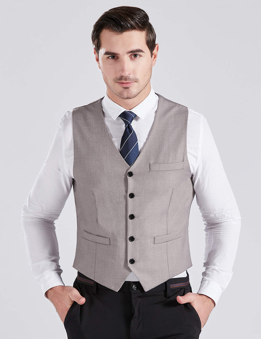 BABEYOND Mens Formal Suit Vest Skinny Wedding Waistcoat (Gray, L)