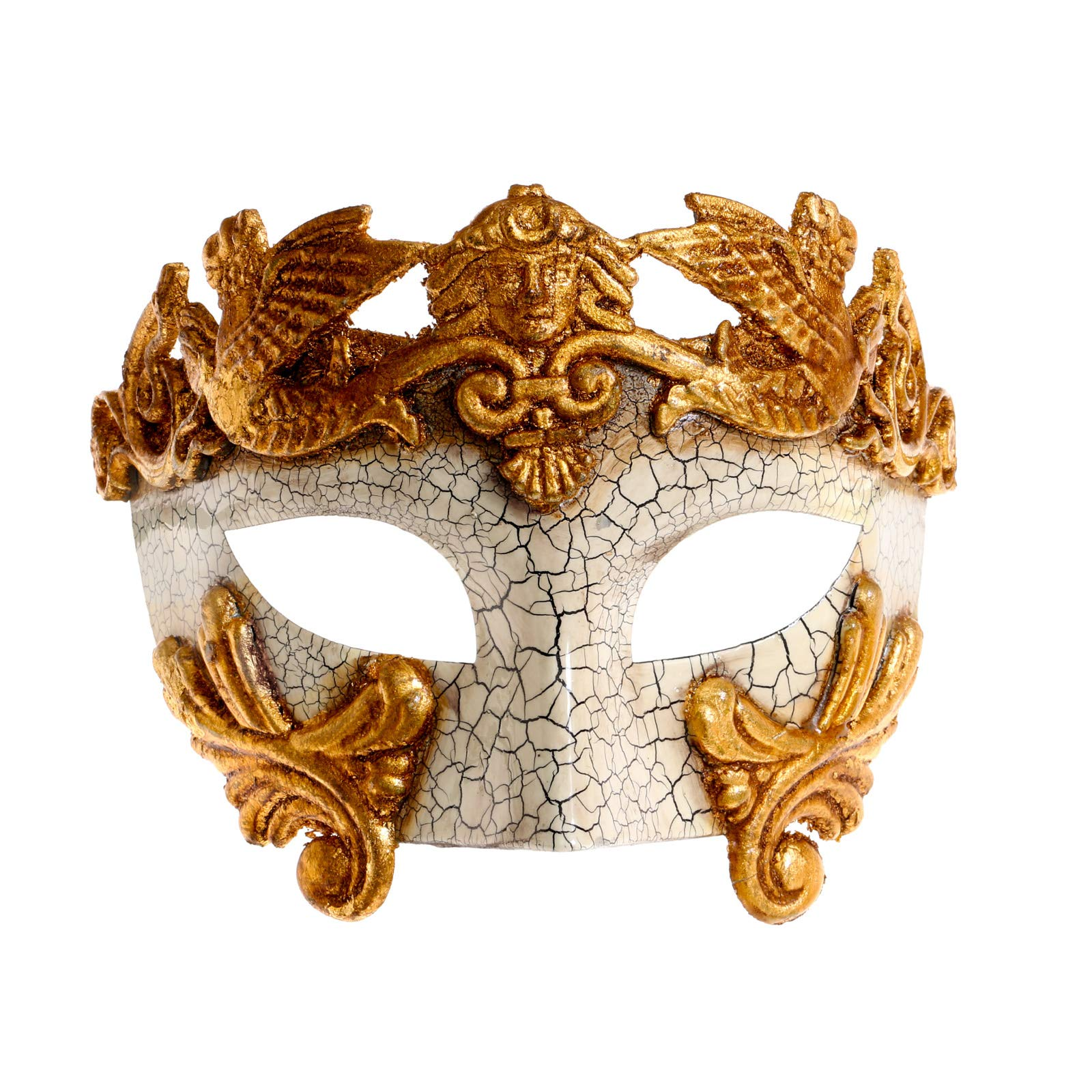Rome Warrior Gold & Gold Swan Laser Cut Party Masquerade Mask Couple