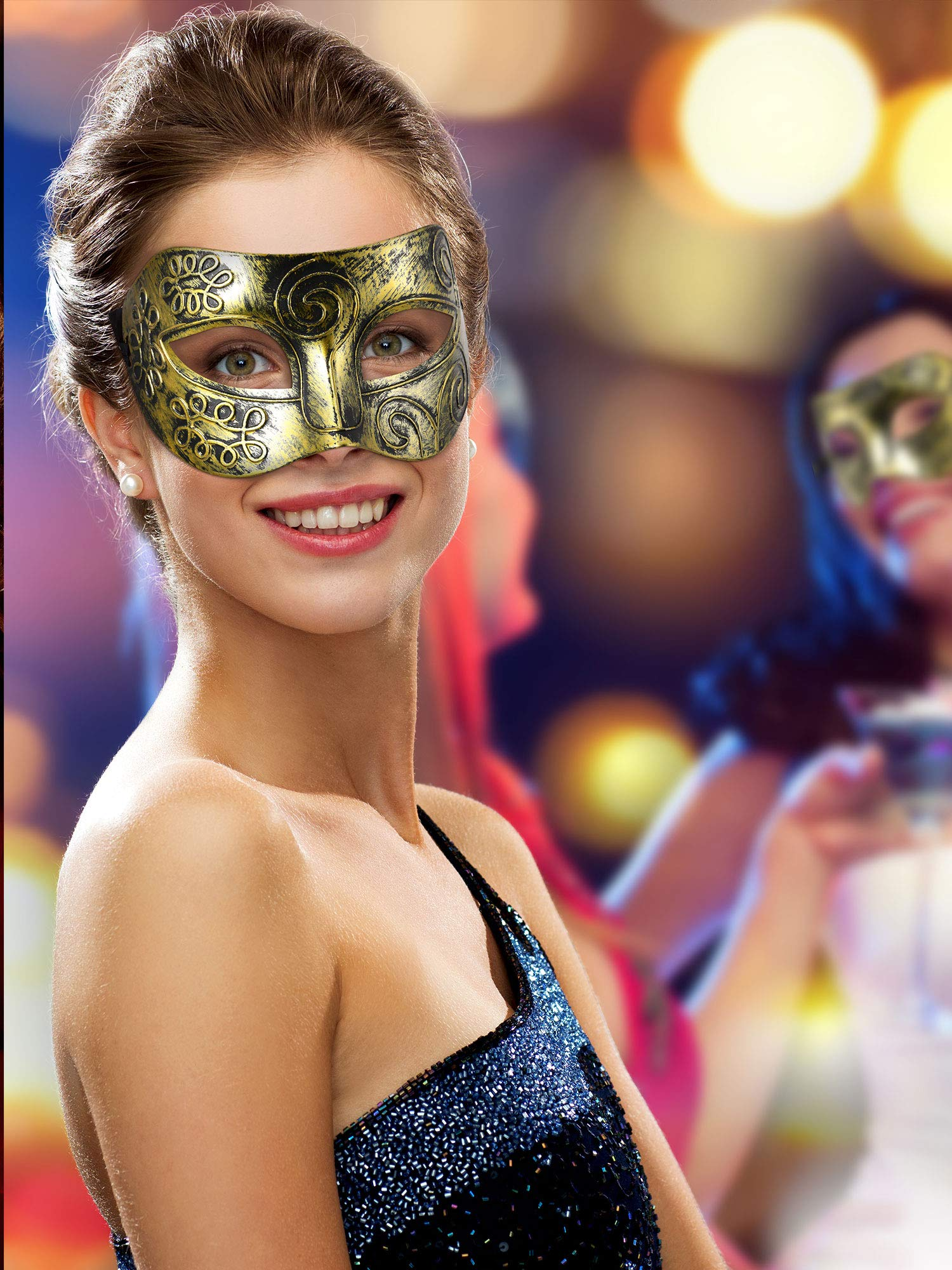 14 Pieces Unisex Retro Half Masquerade Masks Face Mask Venetian Mask for Fancy Dress Costume Party (Gold)