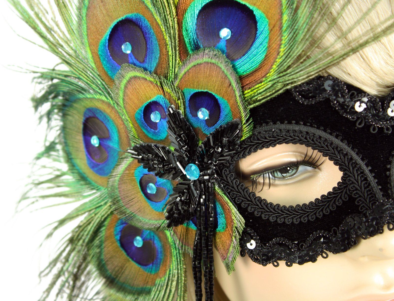 Handmade in USA Masquerade Mask with Peacock Feathers (Black)