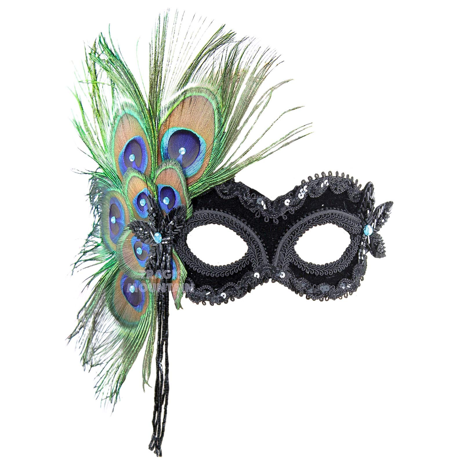 Red//Gold Venetian Masquerade Mask w//Peacock Ostrich Feathers Party Halloween