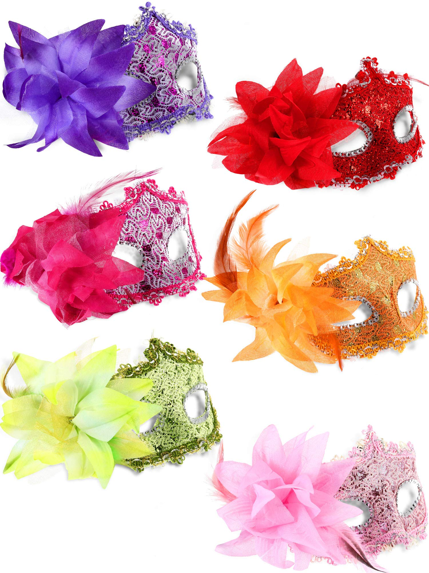 12 Pieces Half Mardi Gras Masquerade Mask Venetian Masks Set for Carnival Prom Ball Fancy Dress Party Supplies (Style 6)