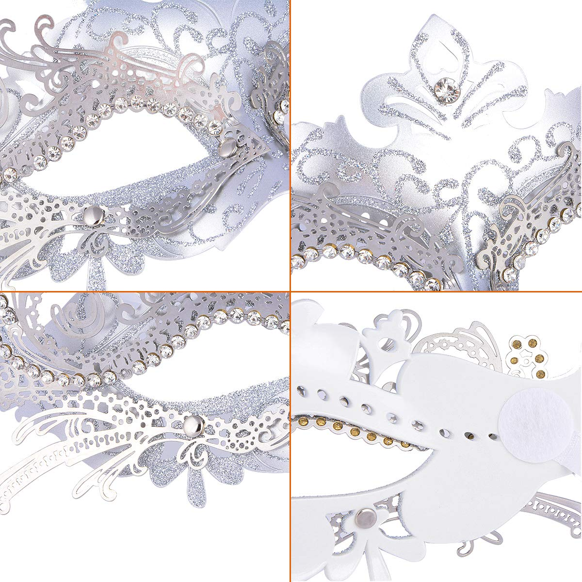 Hoshin Masquerade Mask, Mardi Gras Deecorations Venetian Masks for Womens (Sliver)