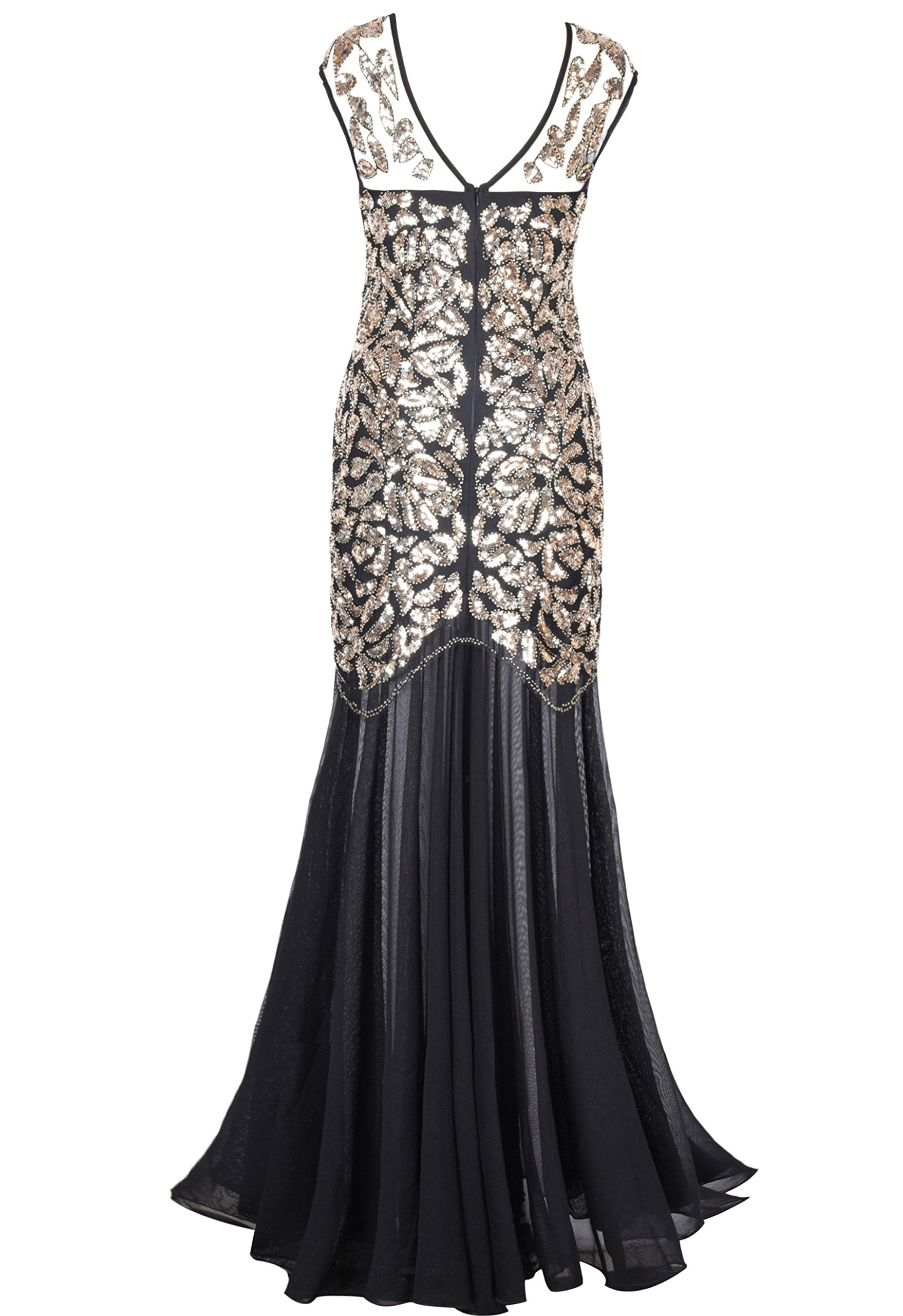 Masquerade Ball Gown 1920s Black Sequin Gatsby Maxi Long Evening Prom Dress