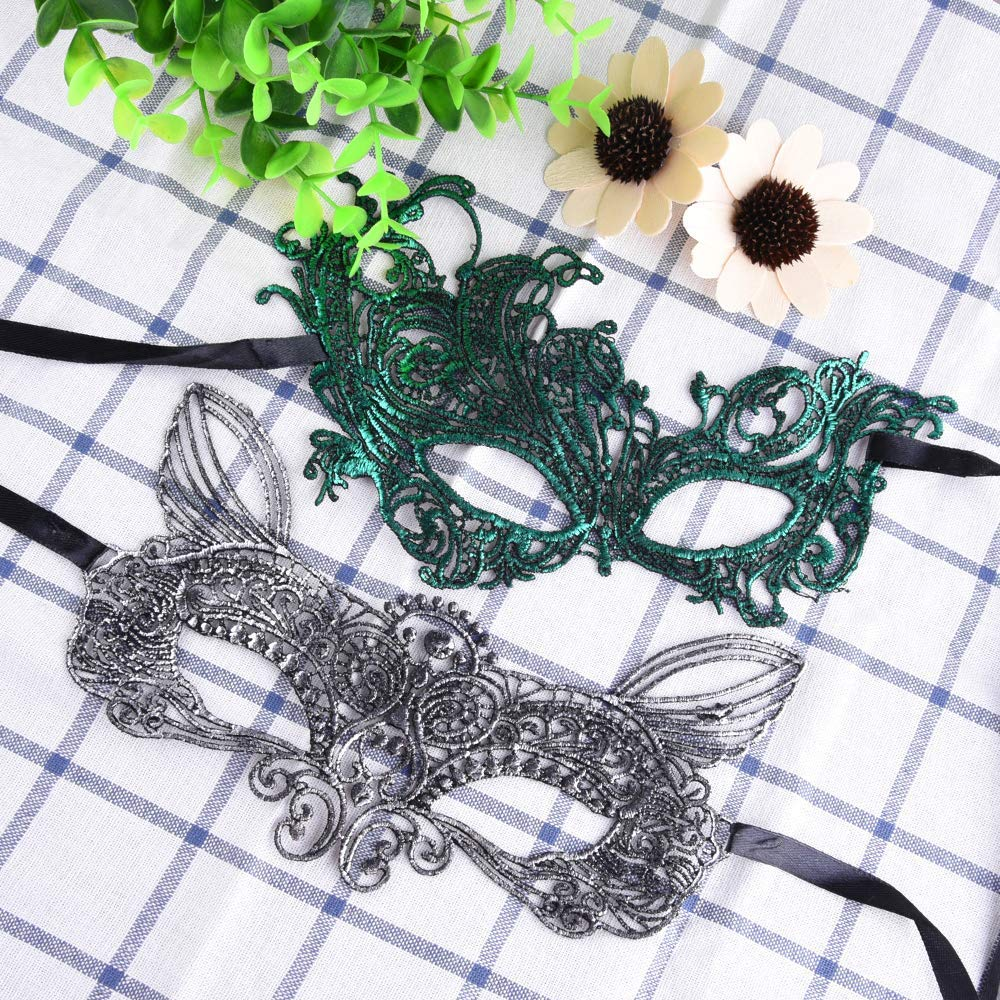 30 Pieces Masquerade Masks Bulk Lace Mask Women Venetian Masks Lace Masquerade Mask for Party Ball, 9 Colors