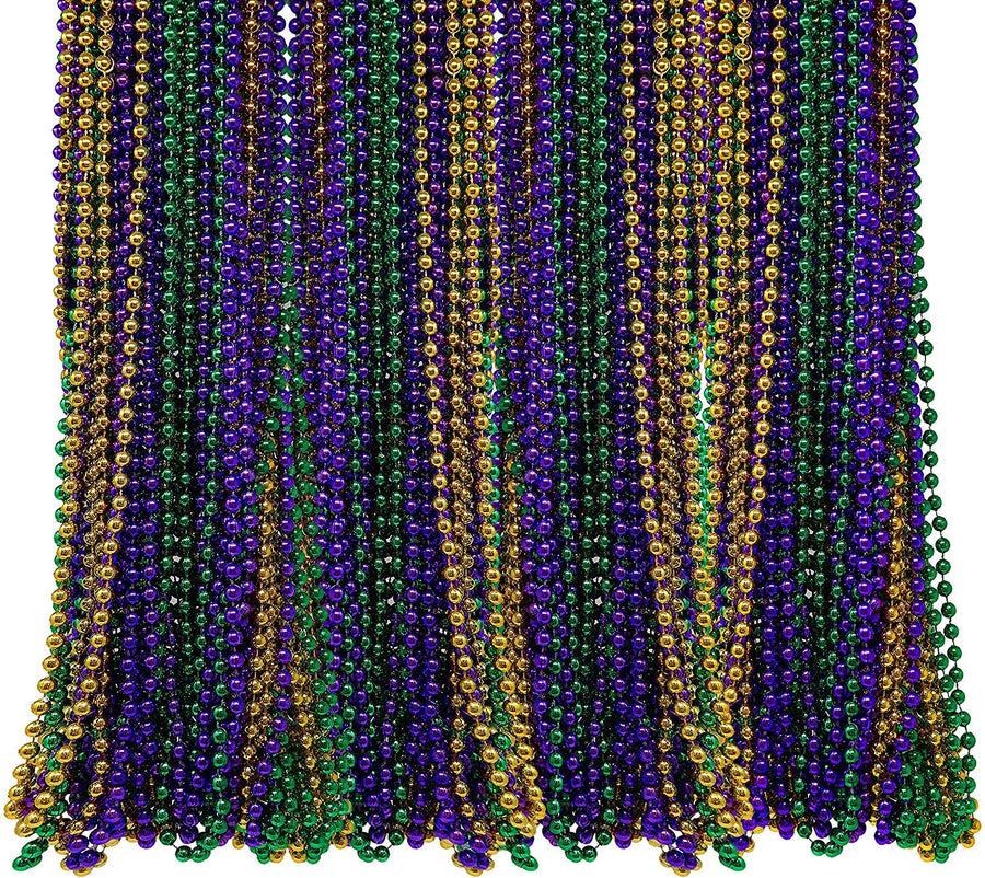 Novelty Bulk 50 Mardi Gras Masks and 48 Beads Necklaces, Bulk Party Pack, Mardi Gras Party Favors, Carnival Parade,Wedding Accessories
