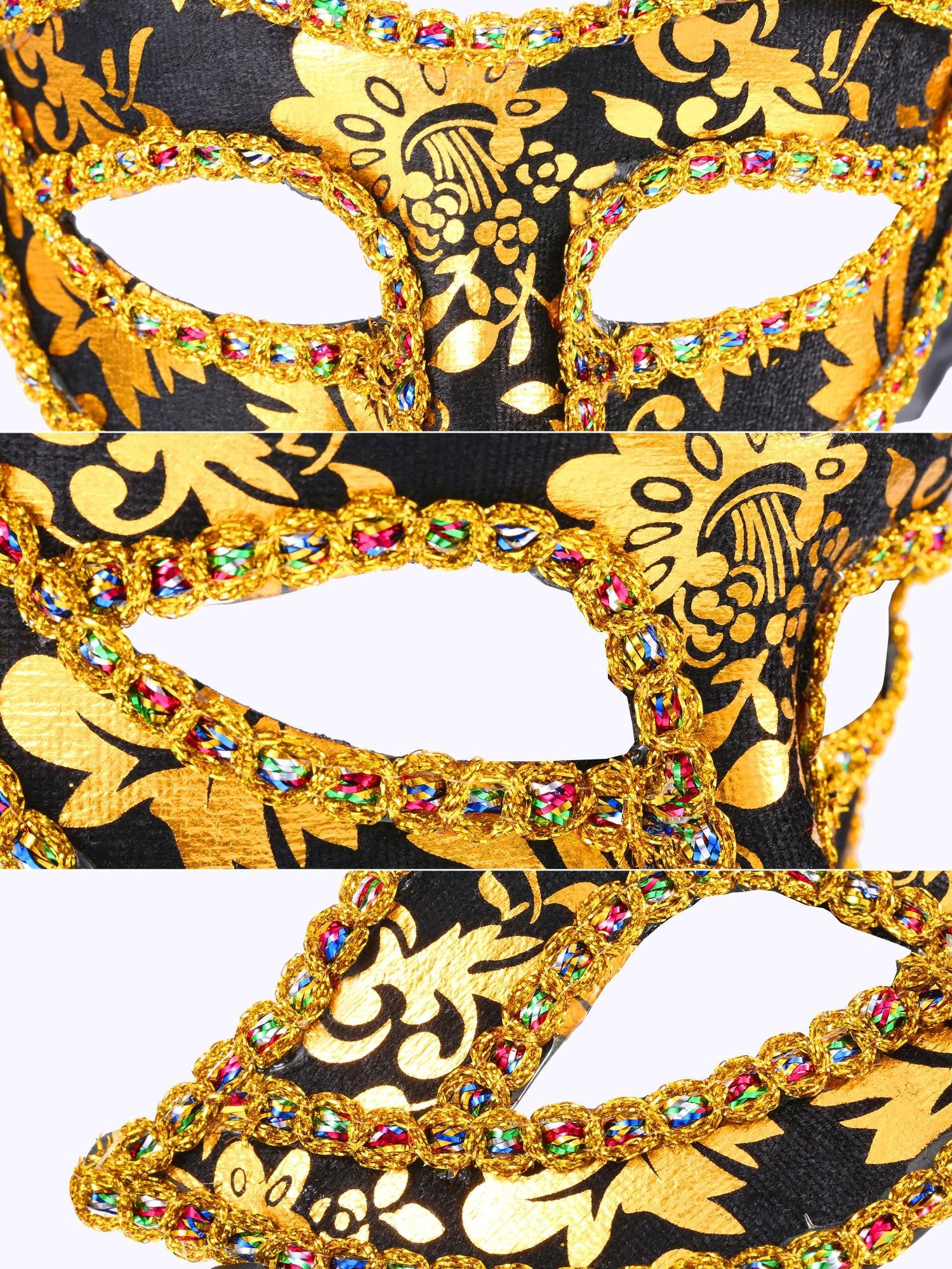 12 Pieces Half Mardi Gras Masquerade Mask Venetian Masks Set for Carnival Prom Ball Fancy Dress Party Supplies (Style 2)