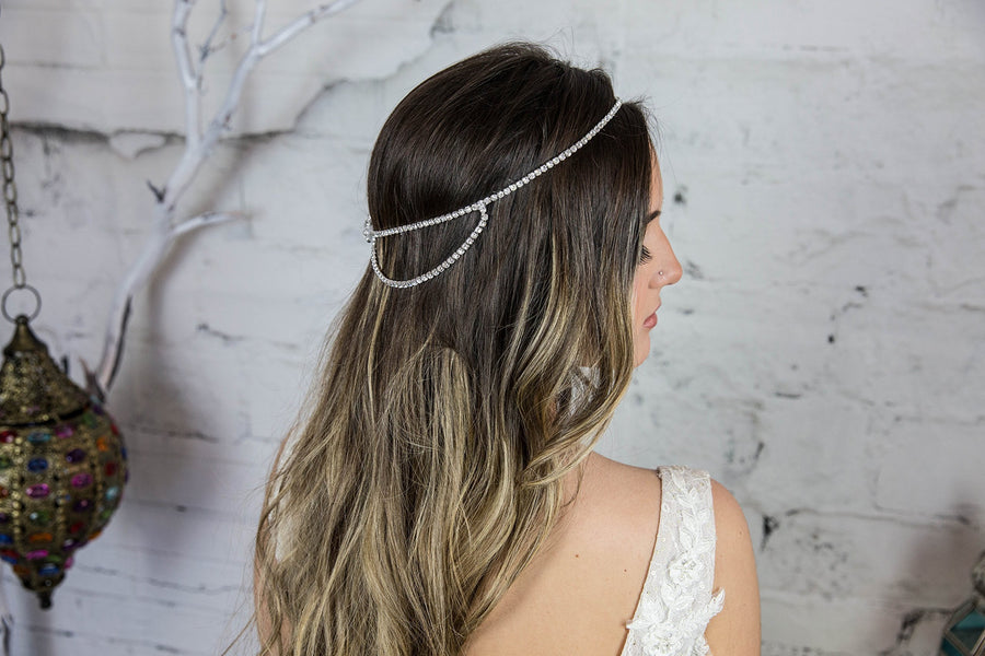 Crystal Bridal Head Chain / Wedding Headband / Crystal Head Chain Bohemian Hair Piece / Hair Jewelry for the Bride / Boho Beach Weddings Hair Accessories / Headchain / Head Piece / Weddings / Handmade