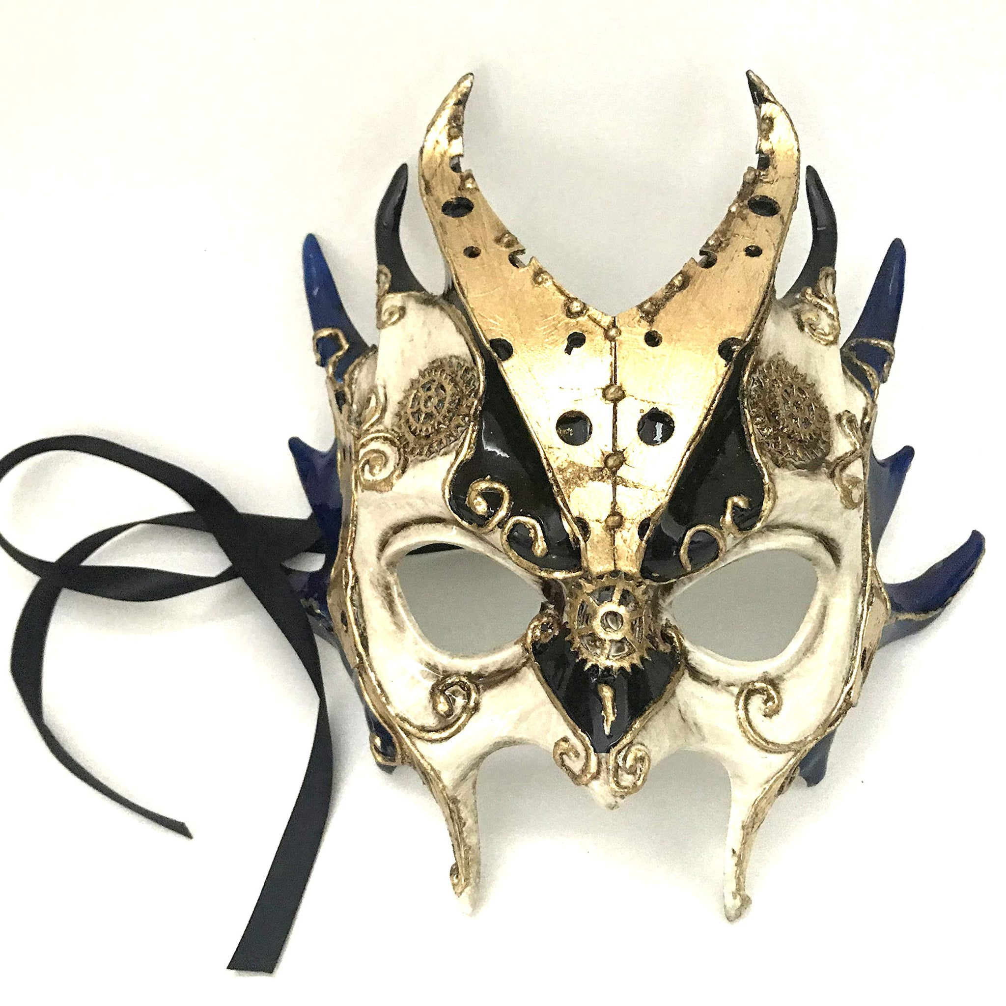MASQSTUDIO Blue Gold Demon Halloween Devil Masquerade Ball Mask with Horns (Demon) (Pair for 2 Masks)