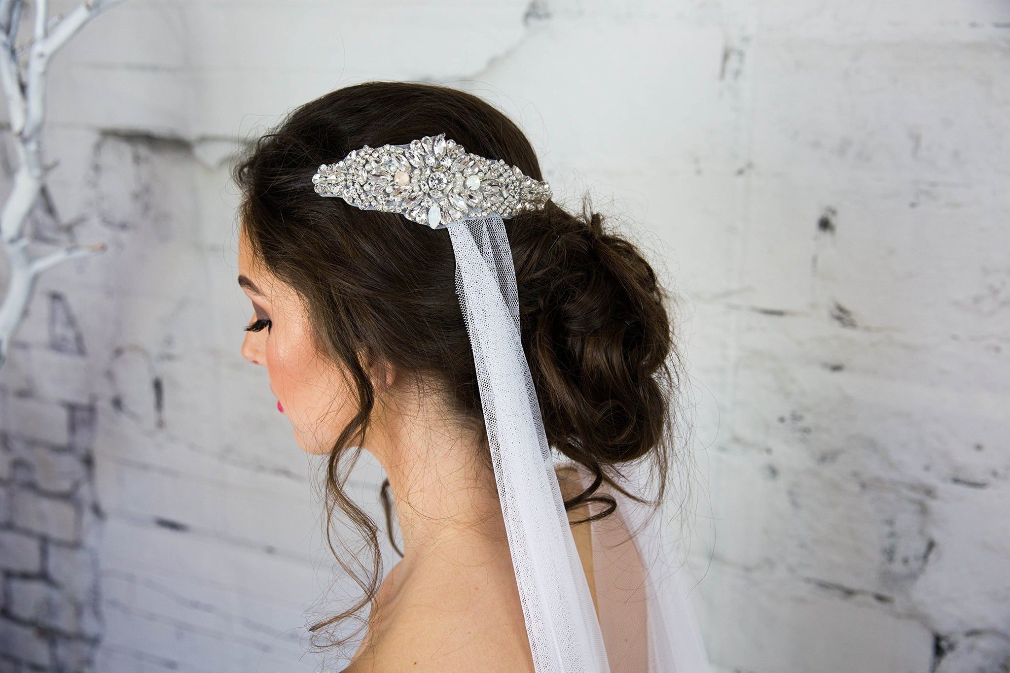 Crystal Bridal Headband, Swarovski Headpiece, White Head Chain, Hair Comb for the Bride, Boho Hair Jewelry, Statement, Headdress