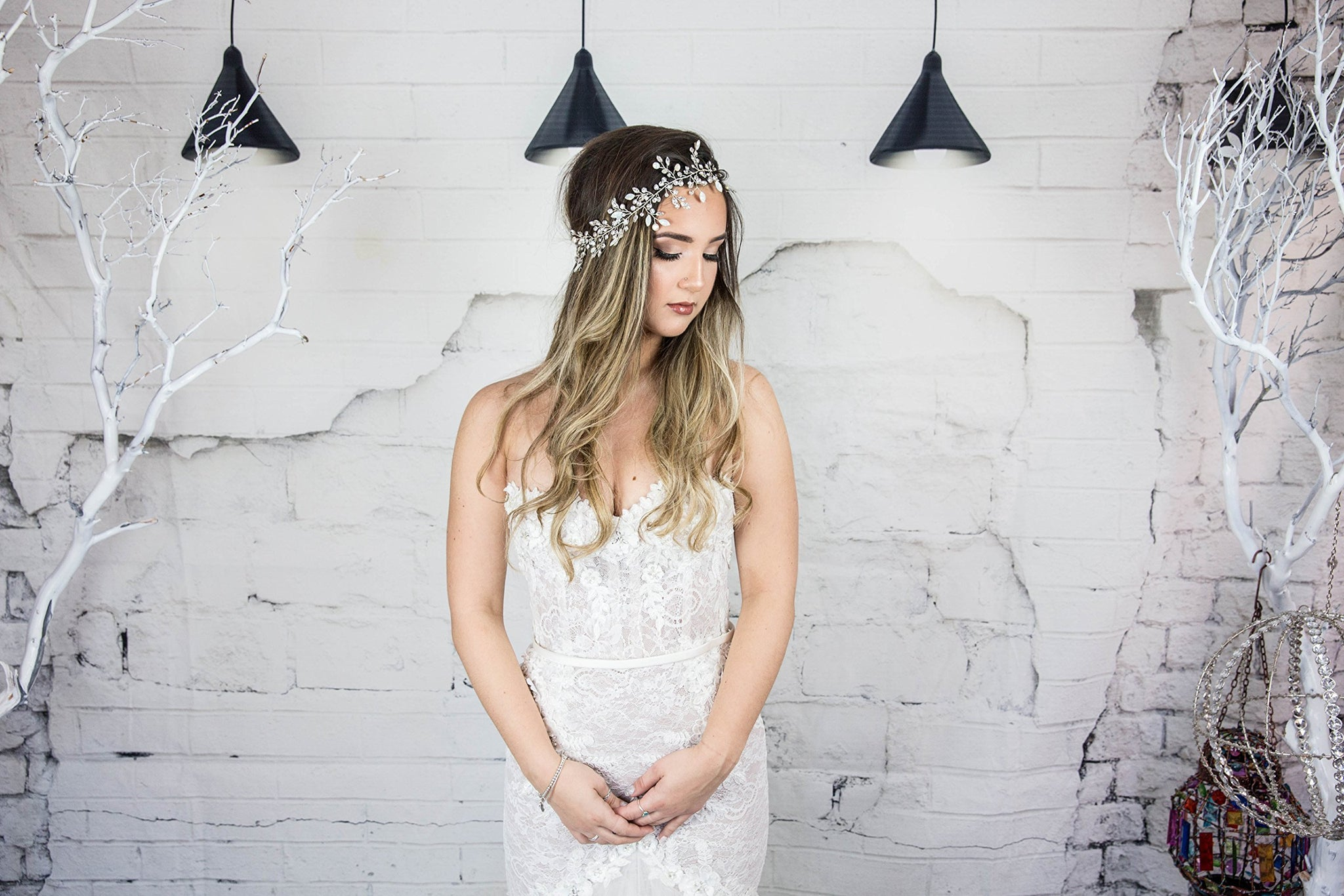 Vine Headpiece , Swarovski Bridal Headband, Wedding Hair Wreath, Beach Hair Accessories, Boho hairpiece