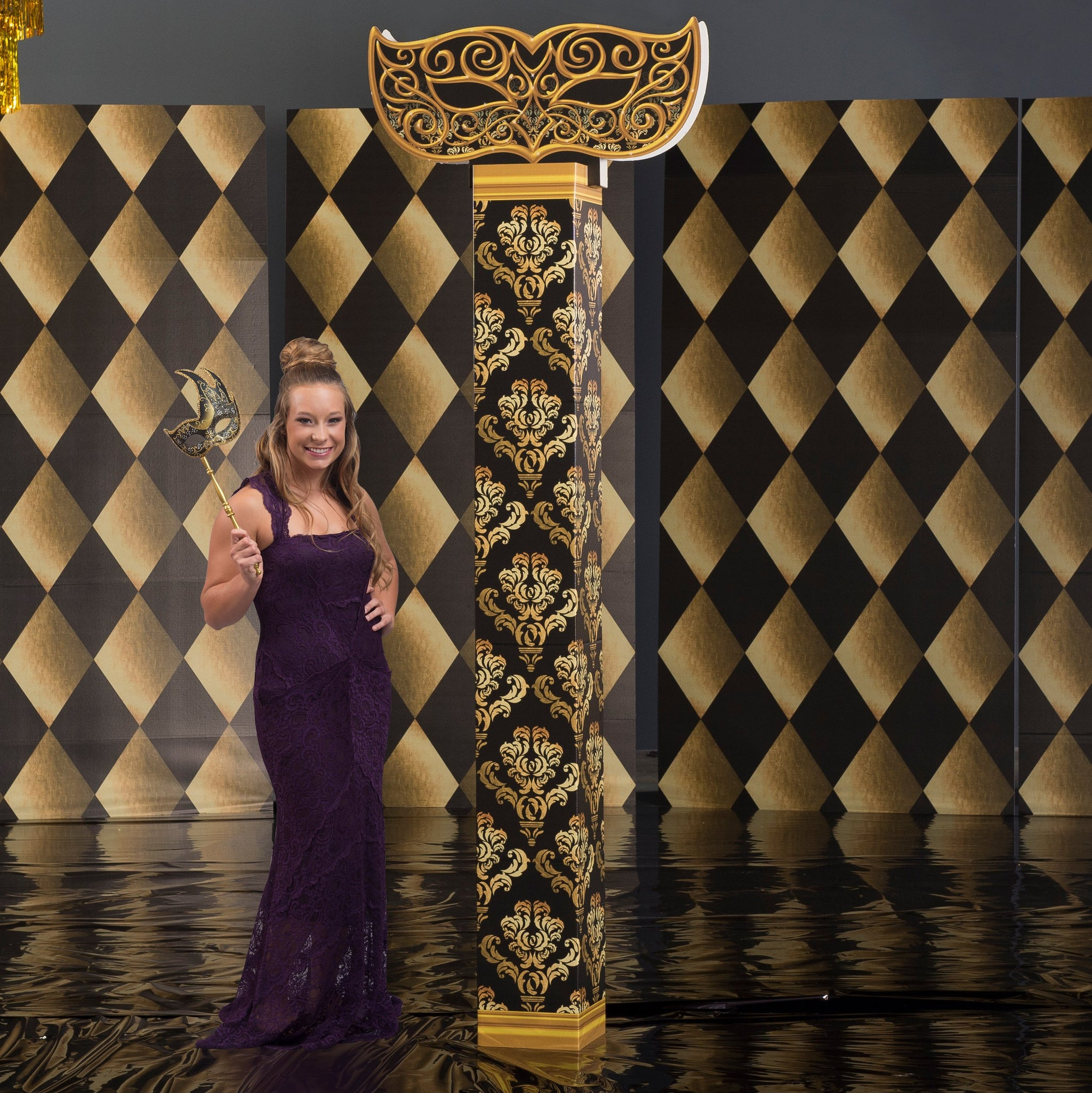 8 ft. 7 in. Black and Gold Mardi Gras Masquerade Column with Topper Photo Booth Prop Background Backdrop Party Decoration Scene Setter