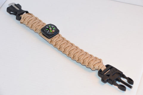 Backwoods Beast Basic Survival Wristband (Sand Camo)
