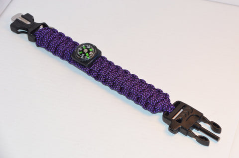 Backwoods Beast Basic Survival Wristband (Purple Diamond)