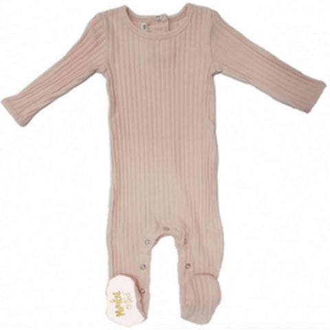 Maniere Mauve Ribbed Fine Cotton Footie