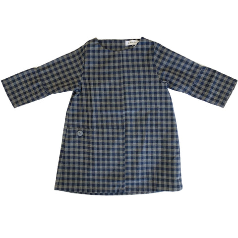 Annice Blue Checked Pocket Dress