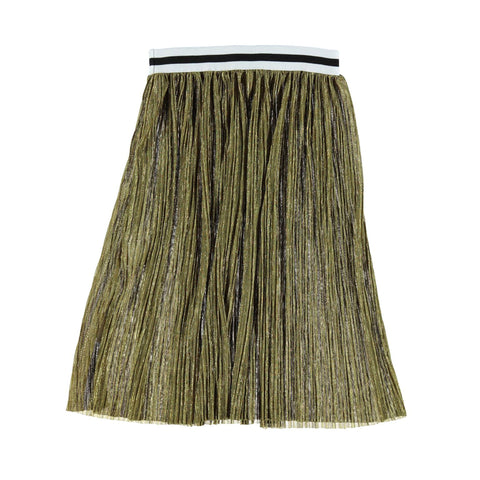 Piupiuchick Golden Pleated Long Skirt