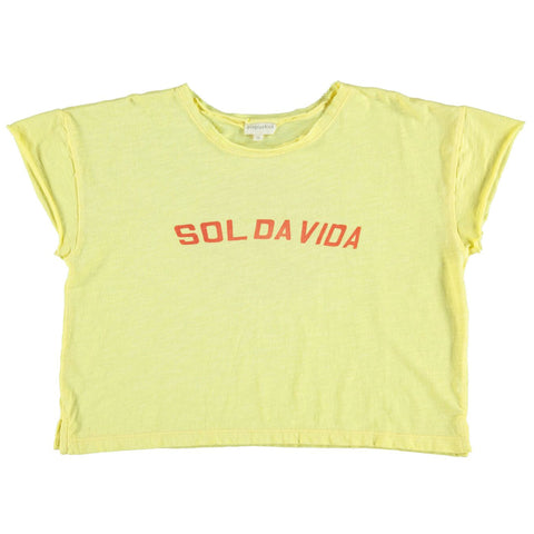 Piupiuchick Yellow With Sol Da Vida Red Print Printed T-shirt
