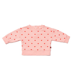 Wynken Pink/ Red Hearts Print Blouson Sweat