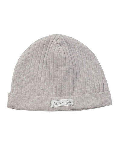 Light Grey Ribbed Cotton Hat