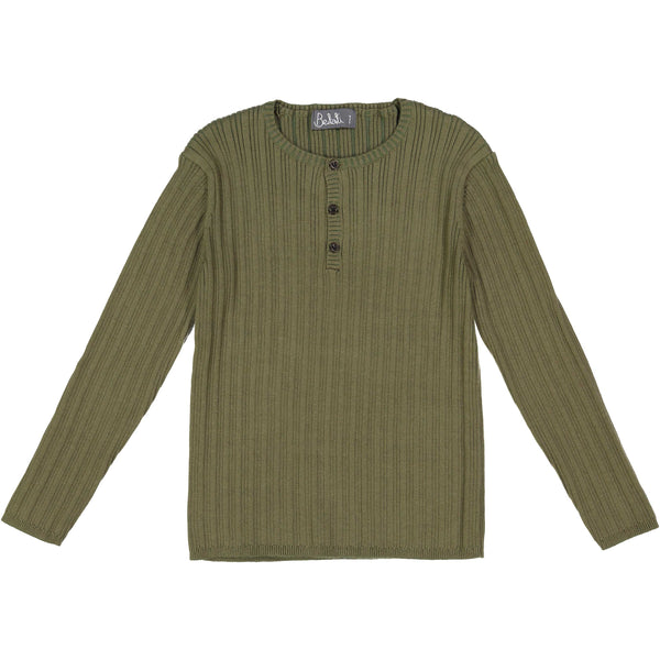Olive Solid Henley Ribbed Buttons Sweater