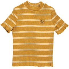 Wynken Big Rib Golden Short Sleeve Demi Turtleneck