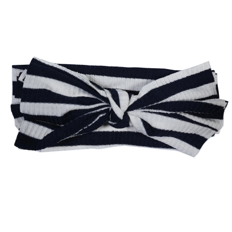 Navy/White Ribbed Floppy Bow Hairband