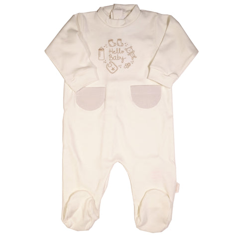 Cambrass Hello Baby Ivory Cotton Footie