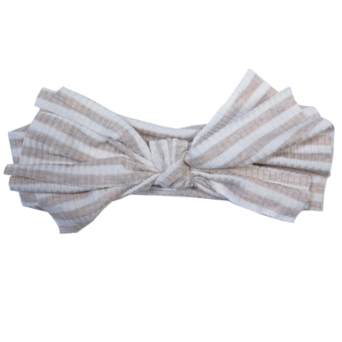 Beige/White Ribbed Floppy Bow Hairband