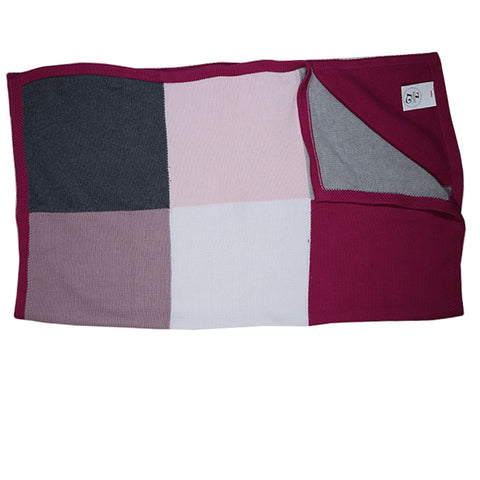 Pink Block Cotton Knit Blanket