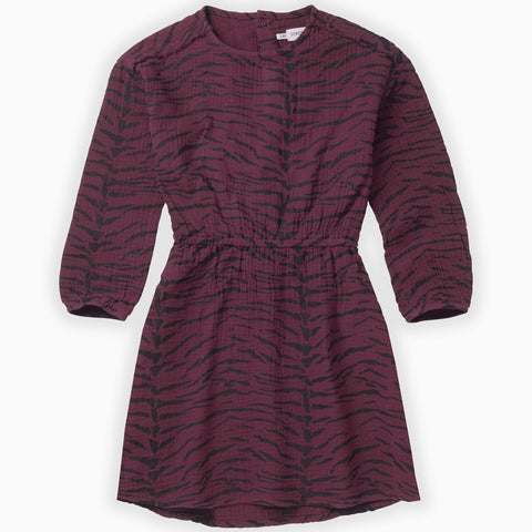Sproet & Sprout Burgundy Woven Tiger Dress AOP