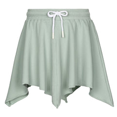 Little Parni Green Starlight Rib Asymetrical Skirt