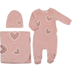 Mon Tresor Soft Pink Heart Patch Layette Set