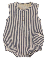 Turtledove London Crinkle Stripe Reversible Bubble Romper