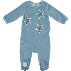 Mon Tresor Dusty Blue Star Patch Footie