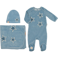 Mon Tresor Dusty Blue Star Patch Layette Set