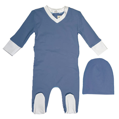 Lil Legs Blue Ribbed Footie