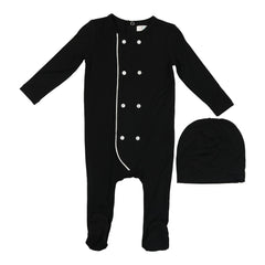 Coco Blanc Black With White Piping Double Breasted Modal Onesie With Bonnet