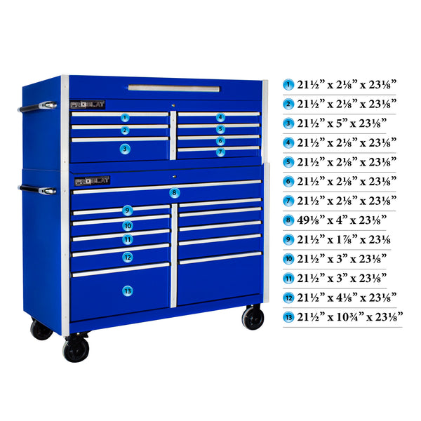 "MCS 54"" Rolling tool chest combo - Blue"