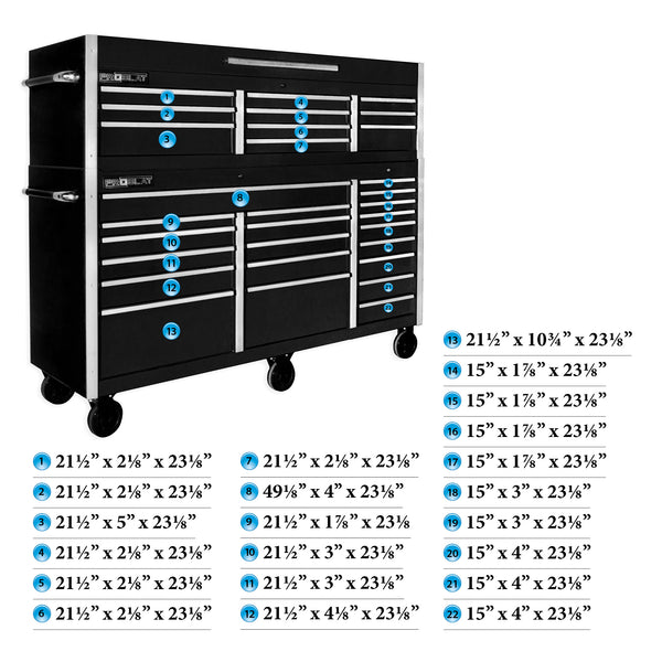 "MCS 72"" Rolling tool chest combo - Black"