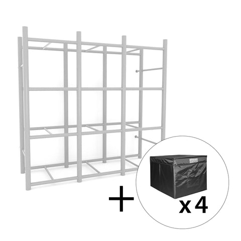 Bin Warehouse Rack – 12 tote with 4PK 32 gallon Fold-A-Tote