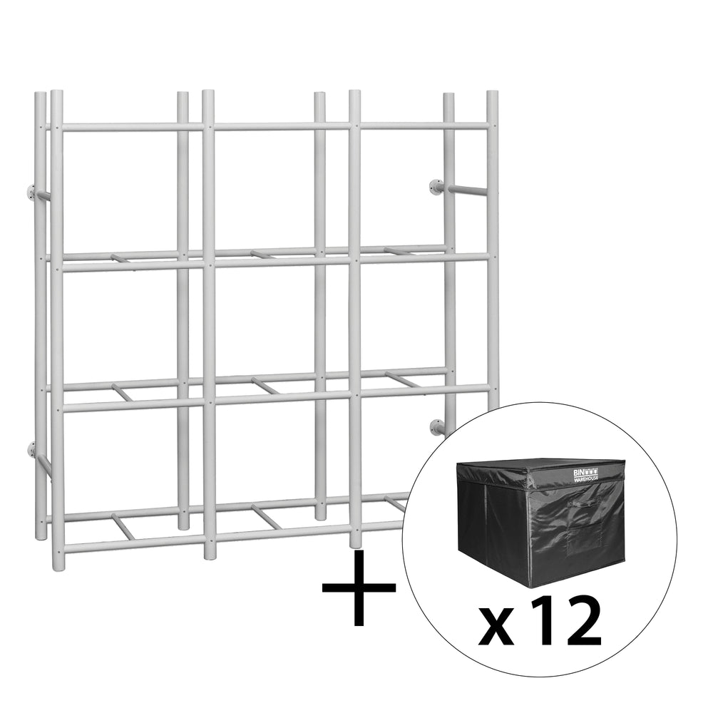 Bin Warehouse Rack – 12 Tote compact with 3 x 4 PK 22 gallon Fold-A-Tote