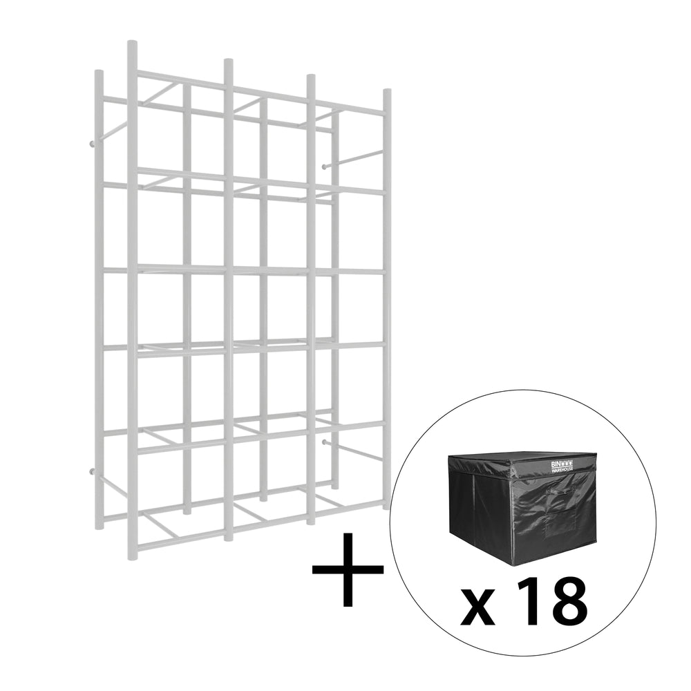 Bin Warehouse Rack – 18 Filebox with 3 x 6 PK 9 gallon Fold-A-Tote