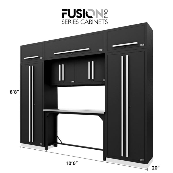 Fusion PRO Cabinets – 9 Piece Work Bench Set – With Overheads