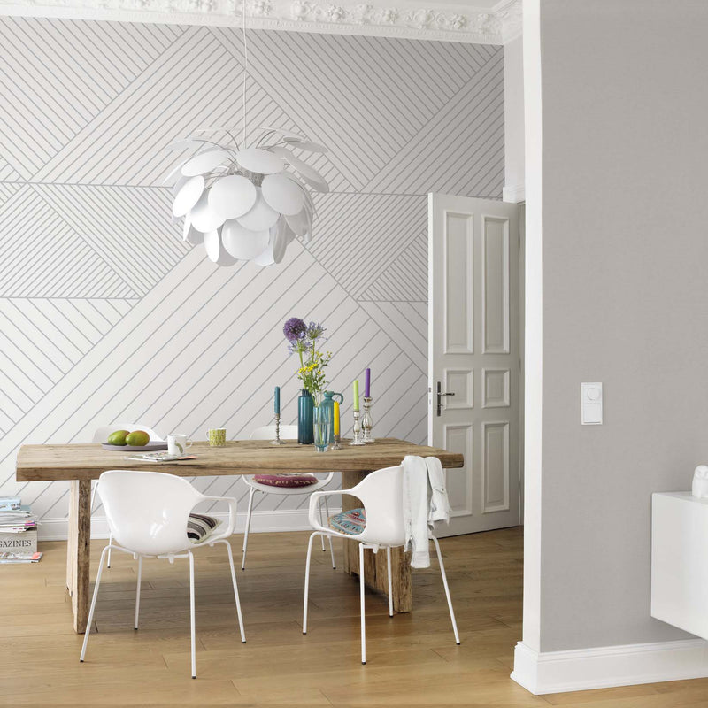 Triangle Geometric Wallpaper Mural in Grey & White - Your 4 Walls