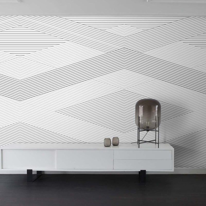 Diamond Geometric Wallpaper Mural in Grey & White - Your 4 Walls