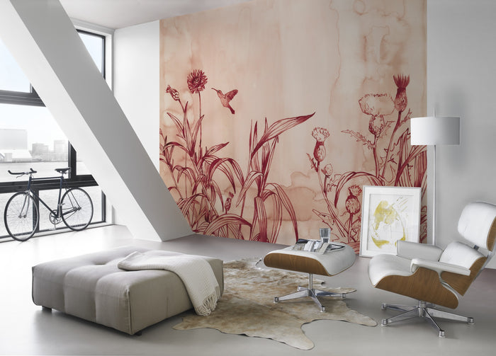 Watercolour Effect Meadow & Bird Wallpaper Mural in Red/Pink