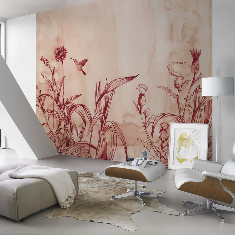 Watercolour Effect Meadow & Bird Wallpaper Mural in Red/Pink - Your 4 Walls