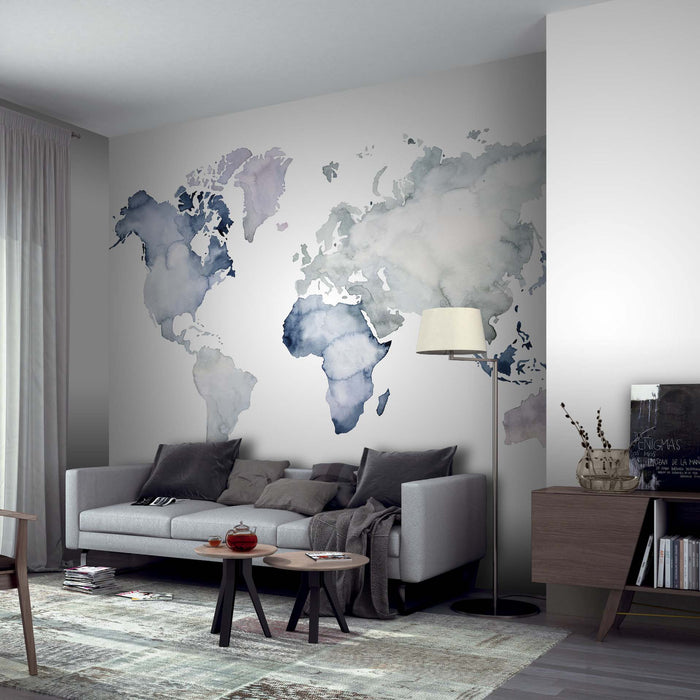 World Map Wallpaper Mural in Watercolour effect, Blue, White, Grey & Black
